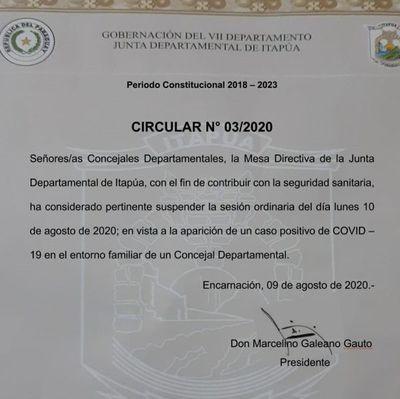 Suspenden sesión de Junta Departamental de Itapúa por covid