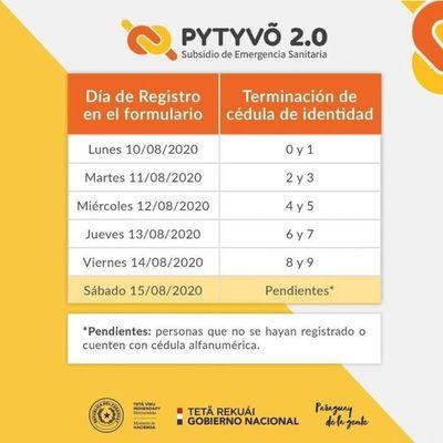 Las personas con terminación de cédula 0 y 1 se inscriben desde mañana para el Pytyvõ 2.0