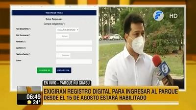 Exigirán registro digital para ingresar al parque Ñu Guasú