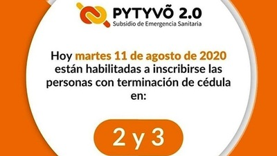 ▶ PYTYVÕ 2.0: Inscripción para cédulas con terminación 2 y 3
