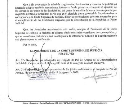 Suspenden actividades en Juzgado de Paz de Areguá por caso positivo de COVID-19
