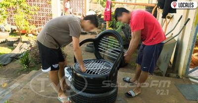 En Centro Educativo de Cambyretá realizan sillones y planteras de cubiertas recicladas