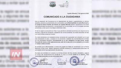 AUTORIDADES SANITARIAS INTENSIFICARÁN CONTROLES EN CAPITÁN MIRANDA