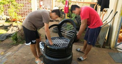Adolescentes de centro educativo reciclan neumáticos para crear sillones y planteras