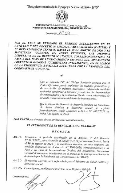 Asunción y Central continuarán en Fase 3