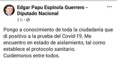 Diputado Edgar Espínola dio positivo al covid-19