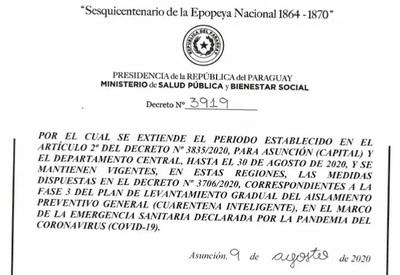 Asunción y Central continúa en fase 3 hasta el 30 de agosto
