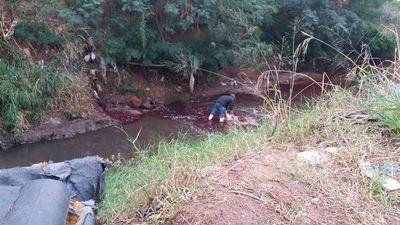 Denuncian que matadería arrojó de nuevo sangre al arroyo San Lorenzo