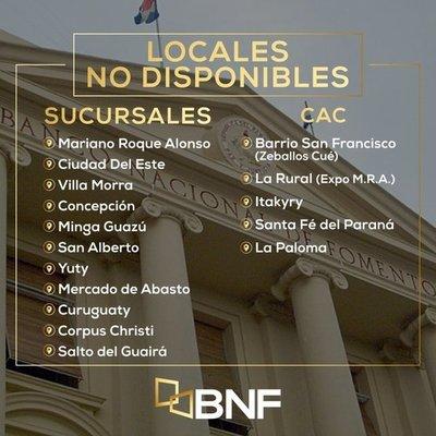 BNF no atenderá al público en 16 sucursales a nivel país