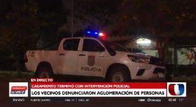 Boda terminó con intervención policial por aglomeración