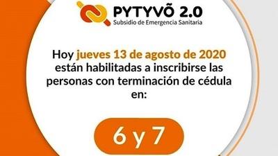 ▶ Pytyvõ 2.0: Trabajadores con terminación de cédula 6 y 7 pueden inscribirse hoy