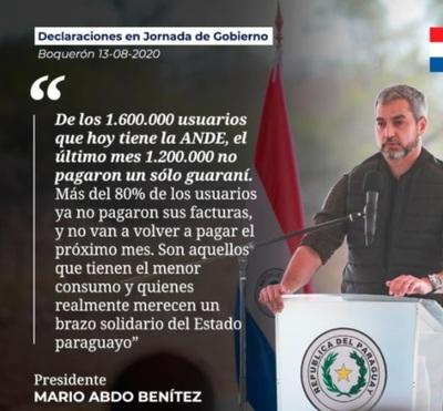 Presidente anunció prórroga de un mes mas de exoneracion de facturas de ANDE