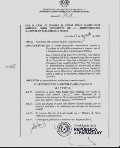 Tras sorpresiva renuncia de Villordo, Ejecutivo designa al nuevo presidente de la ANDE