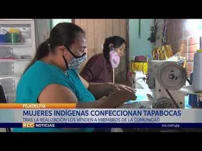 MUJERES INDÍGENAS DE LA COMUNIDAD UJ'E LHAVOS CONFECCIONAN TAPABOCAS PARA EL USO INTERNO