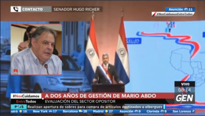 HOY / Senador Hugo Richer opina sobre el balance de gestión del Gobierno de Mario Abdo