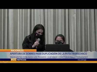 APERTURA DE SOBRES PARA LA RUTA TRANSCHACO