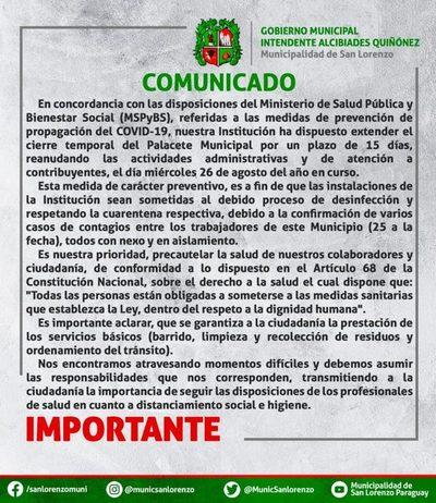 25 positivos de covid-19 obliga a municipalidad a extender cierre temporal del edificio
