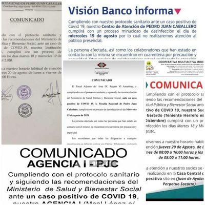 Cierran en Pedro Juan para desinfección de casos de Covid-19, Fiscalia, 2 Bancos y Municipalidad