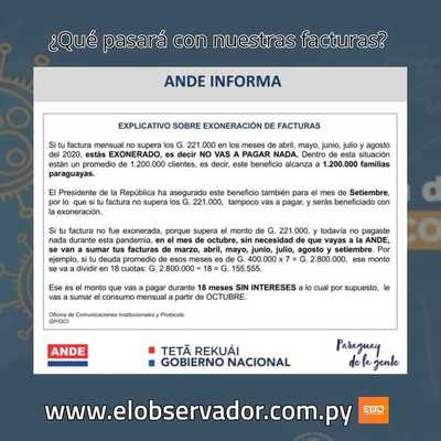 ANDE INFORMA QUE PASARÁ CON LAS FACTURAS