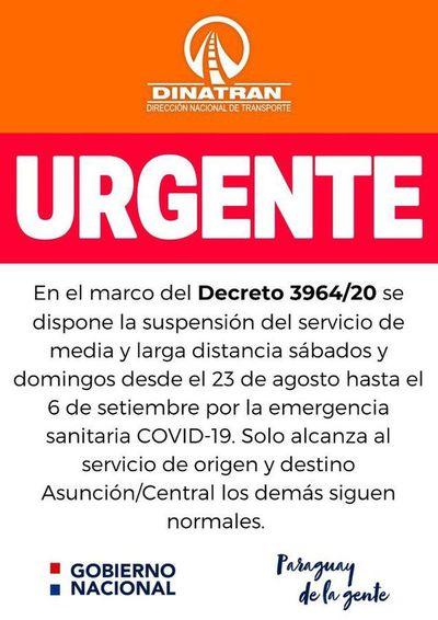 Dinatran suspende viajes de media y larga distancia para Asunción y Central