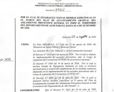 Nueva cuarentena rige hasta el 6 de septiembre en Alto Paraná