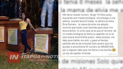 UNA JOVEN  DE CAP. MIRANDA BUSCA CONOCER A SU MAMÁ BIOLÓGICA