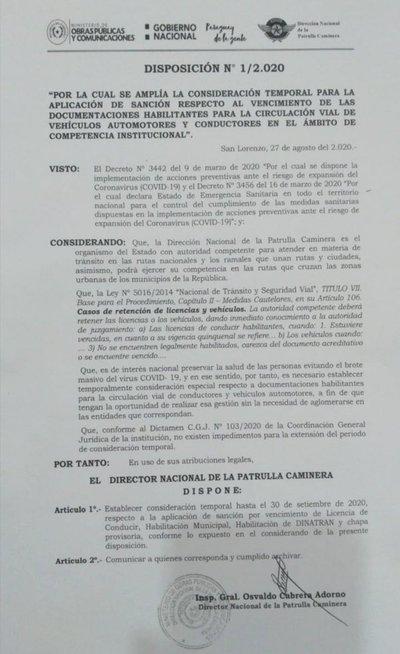 Patrulla Caminera no controlará documentos hasta el 30 de setiembre