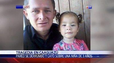 Niña de 3 años fallece en Caaguazú luego de que se derrumbó una pared sobre ella