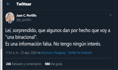 Portillo niega nombramiento en Itaipú