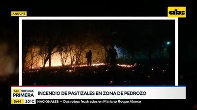Incendio de pastizales en zona de Pedrozo