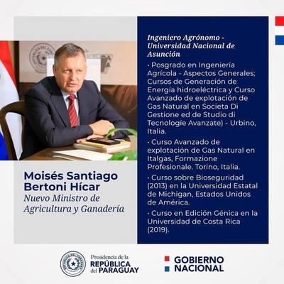 Ejecutivo designó a nuevo ministro de Agricultura y Ganadería