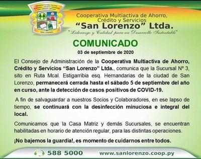 Cooperativa San Lorenzo: Sucursal Nº 3 cerrado por casos de covid-19
