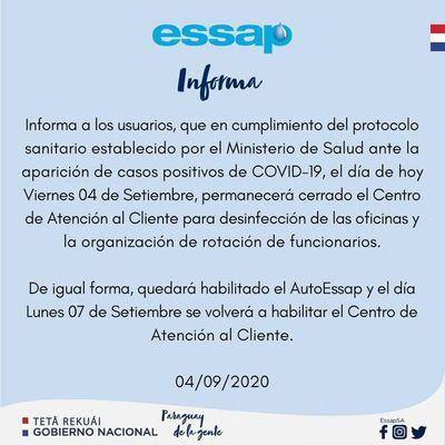 Oficina de Essap permanecerá cerrada hoy por casos positivos de COVID-19