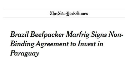 The New York Times destaca desembarco de Marfrig en Paraguay