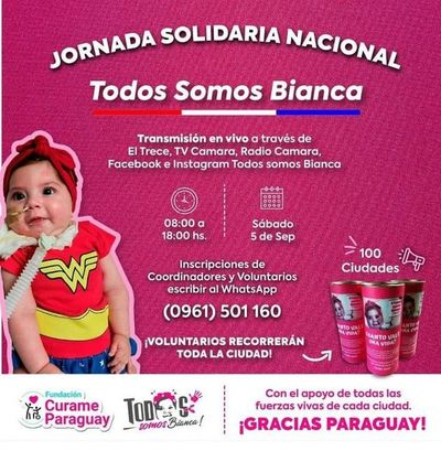 "Invitan a unirse a colecta nacional ""Todos por Bianca"", hoy"