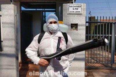 Bomberos Voluntarios de Pedro Juan Caballero realizan desinfección preventiva contra el Covid19 en Favorita 93.7 FM