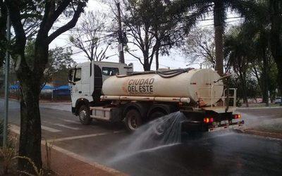 Desinfectan calles de CDE