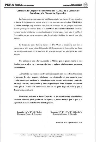 Liberales se solidarizan con familiares de Óscar Denis y piden redoblar esfuerzos para su regreso