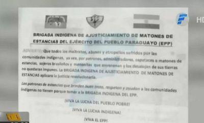 """Panfleto hallado indica que """"Brigada Indígena"""" del EPP perpetró el secuestro"""