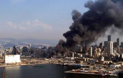 Un gran incendio fue reportado en el puerto de Beirut
