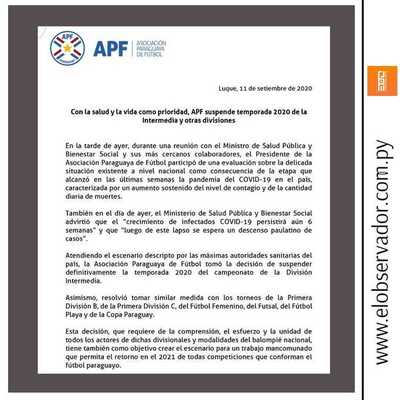 APF SUSPENDIÓ DEFINITIVAMENTE TORNEO INTERMEDIA 2020