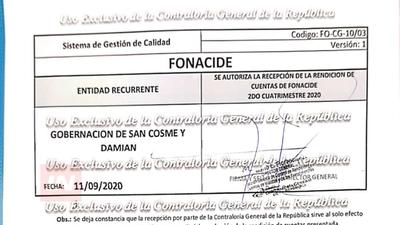 SAN COSME Y DAMIÁN PRESENTÓ SU RENDICIÓN DE FONACIDE Y ROYALTIES