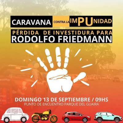 Guaireños convocan a caravana exigiendo expulsión del Senado de Rodolfo Friedmann