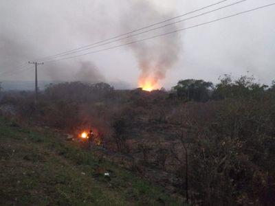 Incendio de grandes proporciones afecta reserva Lago Ypacaraí
