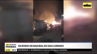 Incendio de basural pone en peligro a viviendas en San Lorenzo
