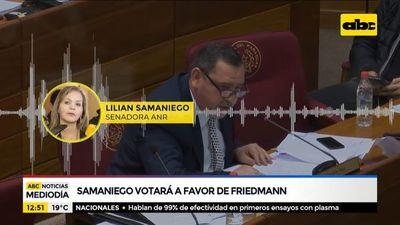 Lilian Samaniego votará contra la pérdida de investidura de Friedmann y ZI