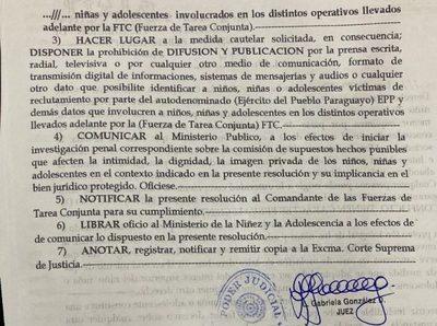 Juzgado prohíbe difusión de información de niños y niñas víctimas del EPP