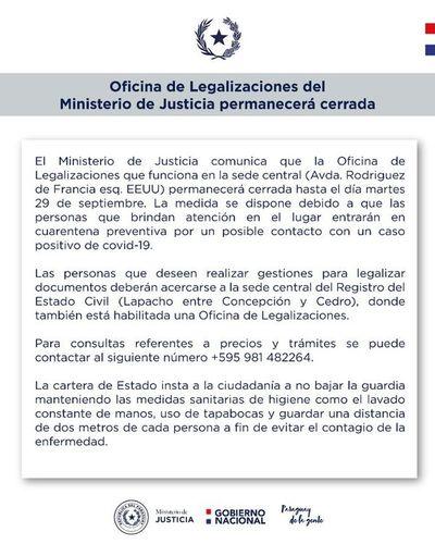 Ministerio de Justicia cierra oficina central de Legalizaciones por sospechas de COVID-19