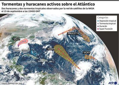 En simultáneo, cinco tormentas en el Atlántico