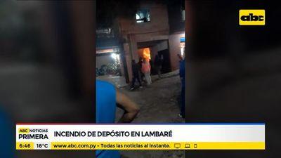 Incendio en depósito en Lambaré
